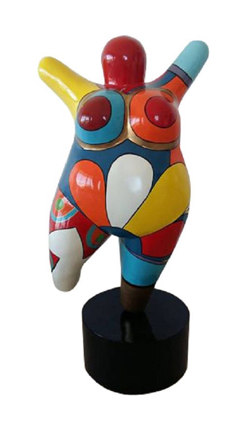 """Sculpture Femme Ronde Colorée very big statue of woman """"nana"""" resin, for decoration and collection. h  37,4 inches"""
