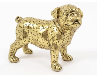 """Pug dog statue """"Puzzle"""" in golden resin, length 9 inches"""