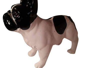 """Big Statue of ceramic French Bulldog. Model """"Tibouille"""", by Laure Terrier, for decoration. 11.8 inches of height"""