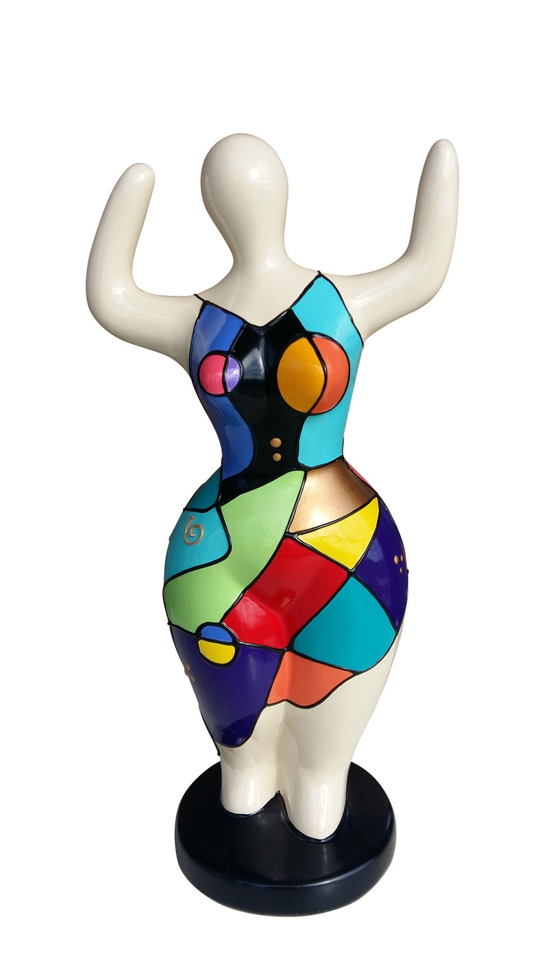 """Sculpture Femme Ronde Colorée statue of woman, style """"nanas"""". ceramic, height 11,8 inches. decoration laure terrier, model « cyara»"""