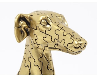"""Statue of greyhound dog """"Puzzle"""" in golden resin, height 28 centimeters"""
