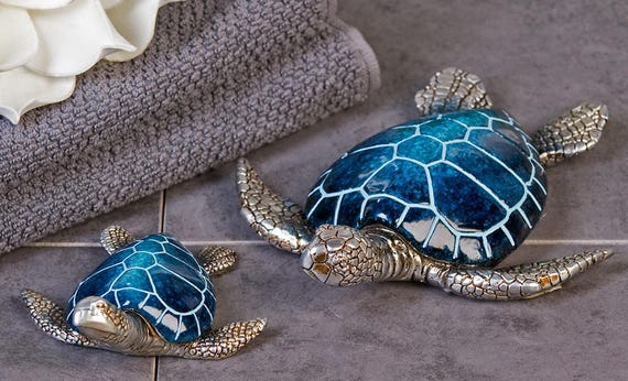 length 10 cm Laure Terrier Sea Turtle Statue tin and glass effect