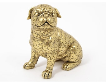 """Pug dog statue """"Puzzle"""" in golden resin, height 7'5 inches"""