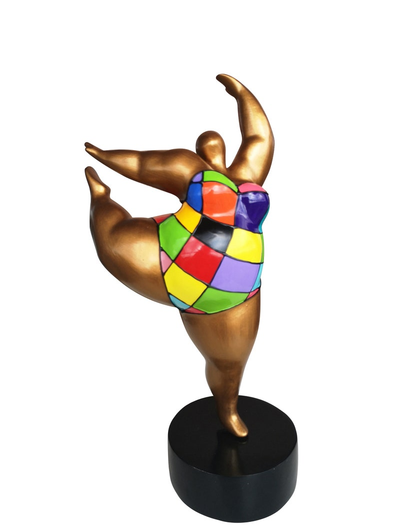 """Sculpture Femme Ronde Colorée statue of woman or """"nana"""" in resin. model """"lydie""""laure terrier. height  15,3 inches"""