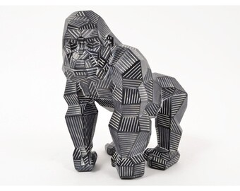 """Gorilla monkey statue """"Origami"""" in black and white resin, height 12'2 inches"""