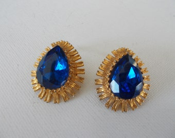 Vintage MKS teardrop shaped pierced earrings bright orange /& blue with gold-tone hardware ; 1.25 inches long