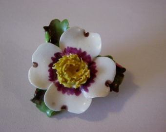 China flowers etsy cara china staffordshire china flower brooch white flower creamy yellow center made in england mightylinksfo