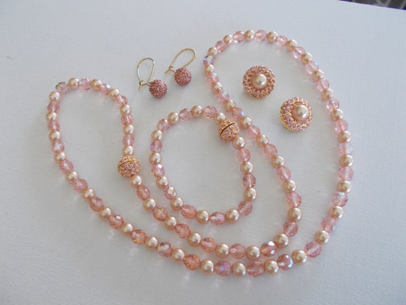Joan Rivers vintage pink Czech glass bead & rhines