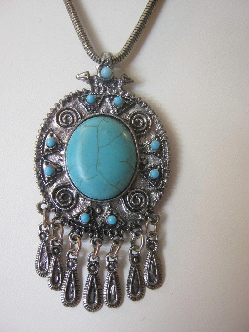 silver necklace with large pendant Vintage turquoise pendant necklace circular tone in center