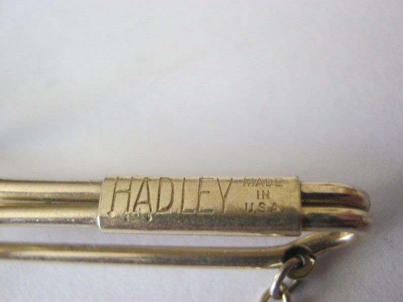 made in the USA Hadley tie pin circular gold dangling tie pin Hadley vintage gold tie pin