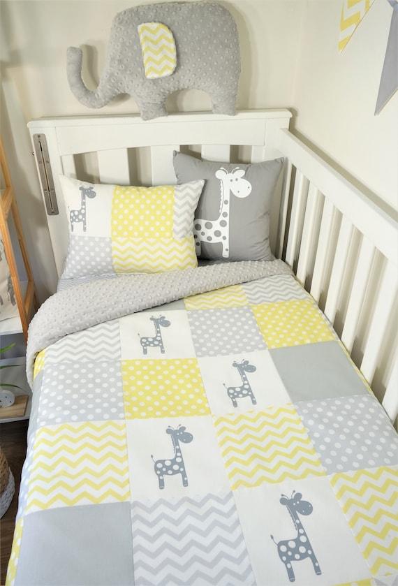 Patchwork Kinderzimmer Artikel - gelb und grau Giraffen Kinderbett Decke,  Kissen, zu ändern, Tisch decken, Kissen, Kissen, Bodenmatte, Ammer