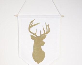 Gold Deer silhouette on white - Banner
