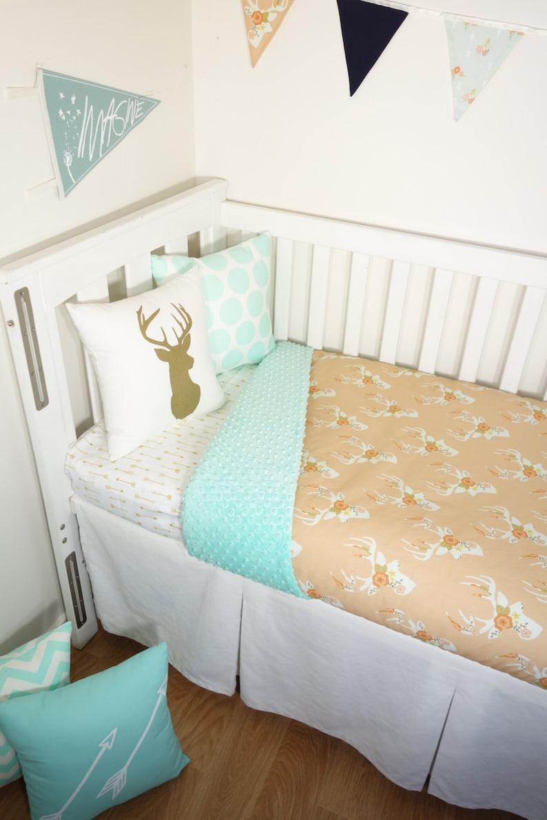 Peach floral deer head and mint minky nursery set items
