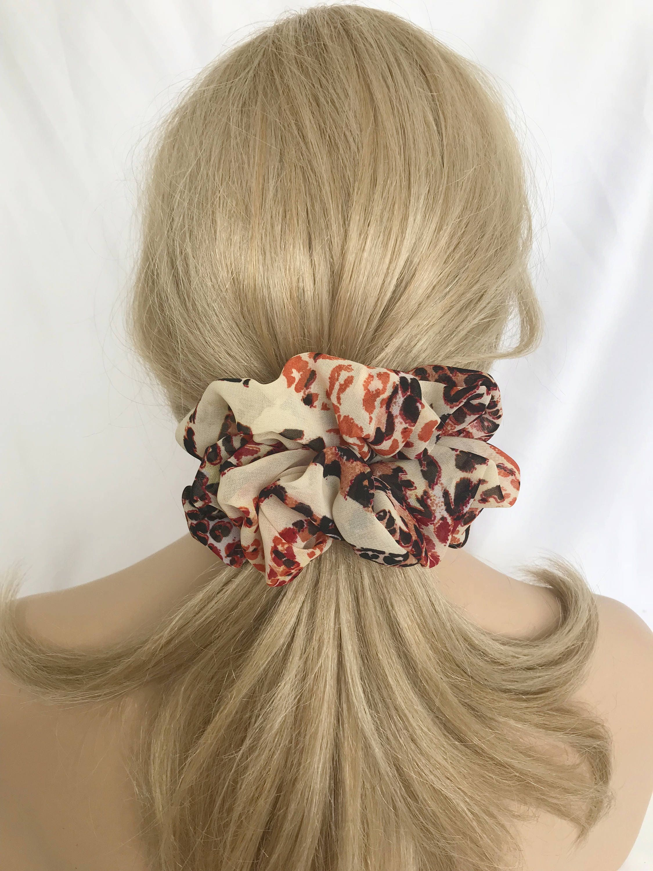 big chiffon boutique style hair scrunchies for thick hair