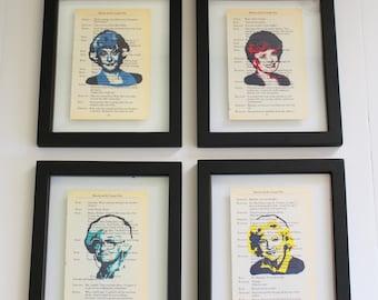 FRAMED Golden Girls Prints on Vintage script paper, Set of Four, Blanche, Rose, Dorothy & Sophia