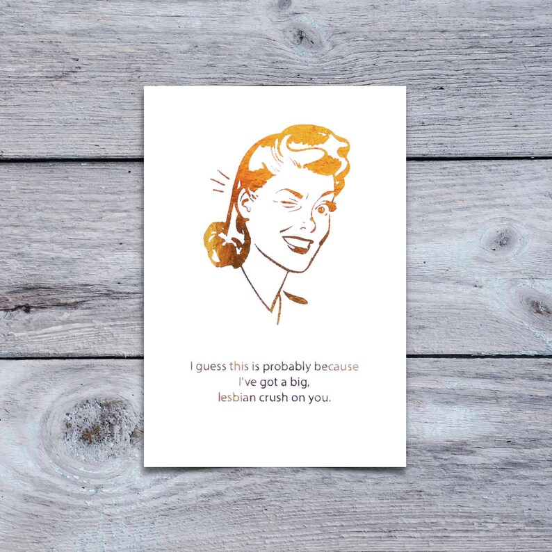 Mean Girls Quote Greeting Card Lesbian Crush On You Etsy