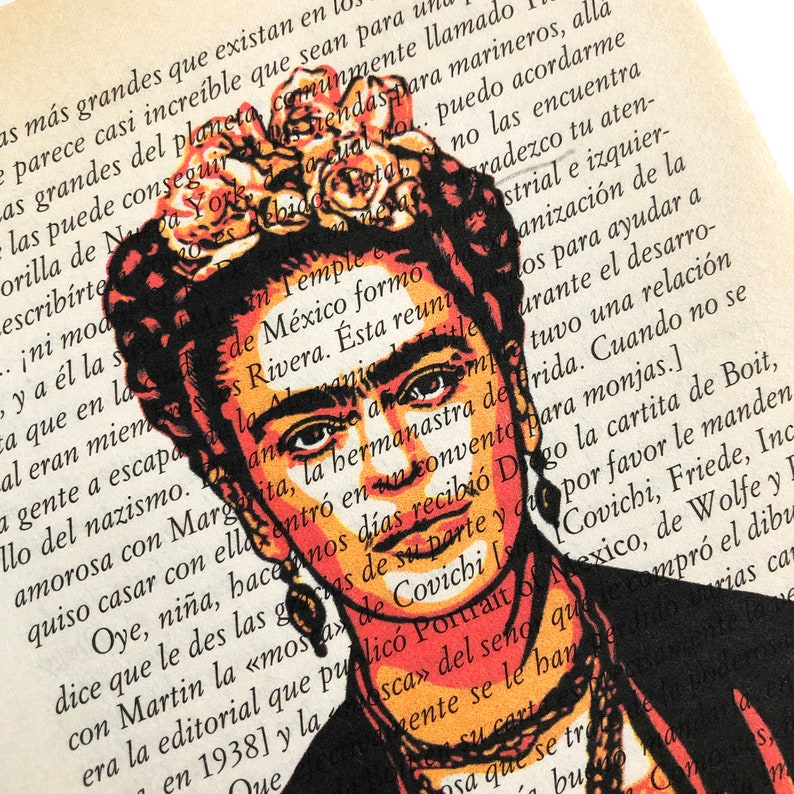 Frida Kahlo English or Spanish Book Page Print Frida Print image 0