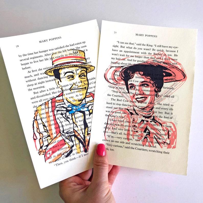 Mary Poppins Bert Disney Movie book art Julie Andrews BOTH Mary & Bert
