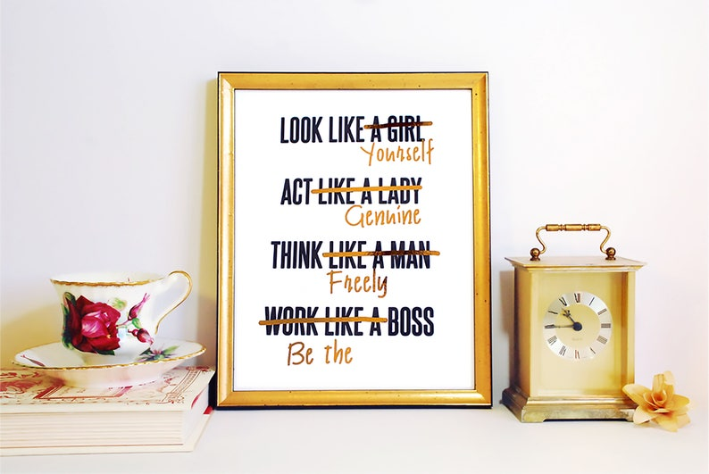 Gold Foil FRAMED PRINT Feminist Girl Boss Act like a Lady image 0