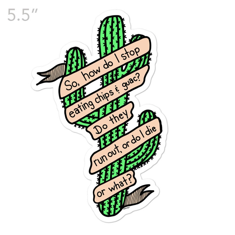 Cactus Guacamole Funny Sticker Chips and Guac Sticker image 0