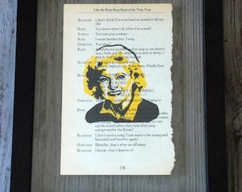 FRAMED Golden Girls ROSE Print on Vintage, TV show script page, (Betty White)
