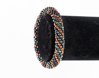 Black and Bronze Crochet Bangle