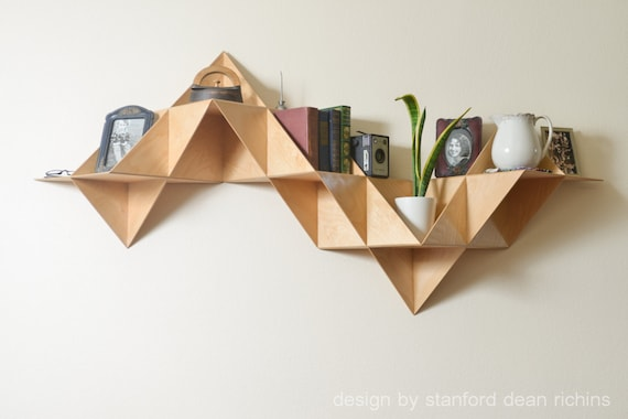 Danish modern inspired modular triangular birch wood wall for Danish design furniture replica uk