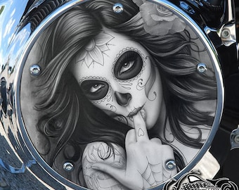 Harley Davidson Custom Made Derby Cover or Timing cover (Your choice) For all Big Twin, Twin Cam, Milwaukee 8 & Sportster - Day of Dead Girl