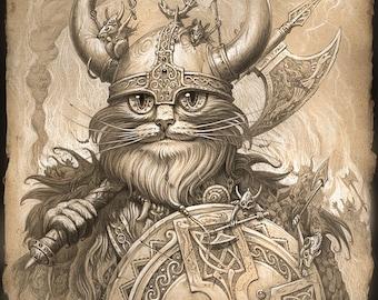 VIKING cat //  // 8 X 10 PRINT // Cat Art // Cat Wall Art // Viking Print // Cat Art Print // Nordic Cat