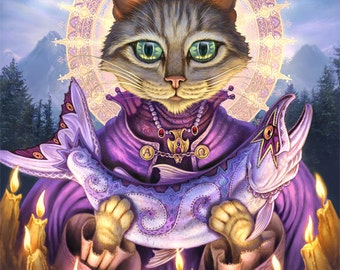 Saint Cat // 8 X 10 Print // Grey Tabby art print // Pet painting // Fantasy Cats // Saint cat // Sacred Salmon // Patron Saint Cat