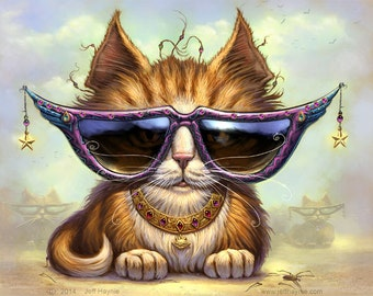 Just Be Cat // 8 X 10 PRINT // Orange Tabby art print // Pet painting // Fantasy Cats // Giclee print // Cool Cat Sunglasses // Tabby Cat