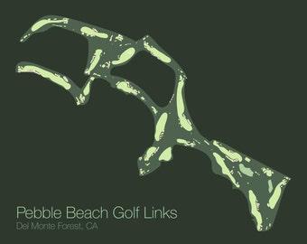 Pebble Beach Golf Course Poster - Vector Art