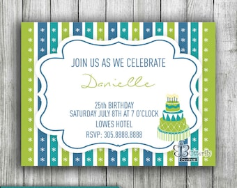Birthday Cake Invitation - Digital Birthday Invitation - Party Invitations -  Modern Invitation