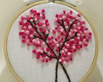 Pink cherry blossom handmade embroidery