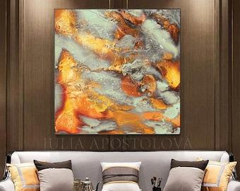 Extra Large Wall Art Gold Abstract, Glam Decor, Luxury Wall Art, Autumn Painting Print, Gold Copper Art, 'Autumn Spirit' by Julia Apostolova