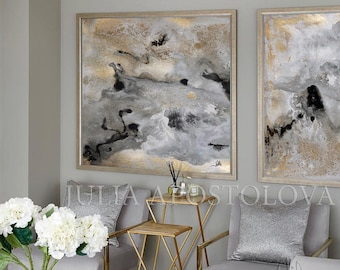 Huge Wall Art Gold Leaf Painting Set of 2 Wall Decor Gold Leaf Abstract Textured Large Art Luxury Prints Glam Wall Art by Julia Apostolova