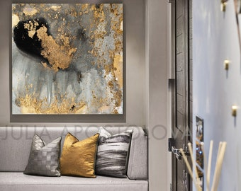 45'', Gray Gold and Black, Watercolor Large Goldleaf Reproduction Abstract Wall Art for Modern Interiors, XXL Canvas Gold Painting by Julia