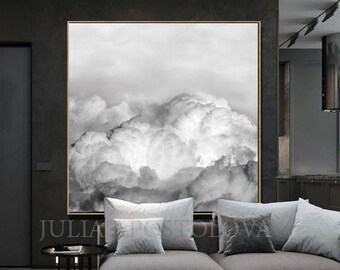 Abstract Cloud, White Minimalist Art, Bright Abstract Print, Cloud Canvas Art, Gray White Cloud Painting, White Wall Art, Winter Wall Decor
