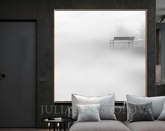 Minimalist White Wall Art, Foggy Landscape, Minimalist Photo, Bench Photography, Winter Wall Art, Office Decor For Men Gifts, Gray Wall Art