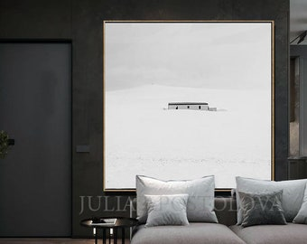 Winter Wall Art, Minimalist White Art, House in the Snow, Large Canvas Black White Wall Art, Nordic Art for Modern Wall Decor, Elegant Gift