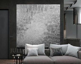 45'', Silver Painting Heavy Textured Art Original, Wall Sculpture, Silver Art Gray Abstract Minimalist Luxury Wall Art Decor JuliaApostolova