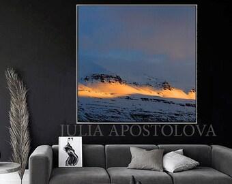 Minimalist Photography Abstract Art Wall Decor Large Nature Art Canvas Print Winter Snow Mountain Sunlight Scandinavian Art for Office Decor
