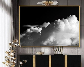 Large Wall Art - Abstract BLACK WHITE PAINTING - Cloud Art - Modern Art - Minimalist Print - Large Cloud Painting - Abstract Art up 80 inch