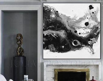 Canvas Wall Art, Abstract Art   Black White Painting   Large Canvas Print   Watercolor Painting   Black White Abstract   Modern Art Decor