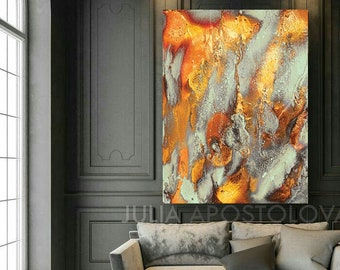 Autumn Decor Copper Wall Art Abstract Gold Canvas Fall Wall Art Print Oversized Autumn Painting for Modern or Boho Home by Julia Apostolova