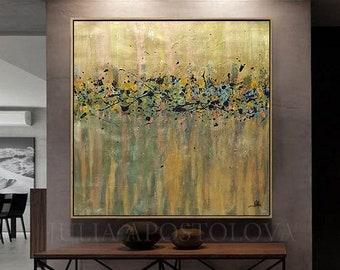 Gold Painting Minimalist, Original Art Abstract Painting, Copper Gold Leaf Art, Autumn Painting & Frame, Metallic Painting for Modern Decor