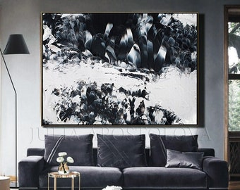 Extra Large Painting   Abstract Art   Black White Painting   Marble Wall Art   Canvas Print   Modern Art   Wall Art Decor   Large Wall Art