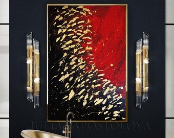 Red Black Gold Art Large GOLD LEAF ORIGINAL Painting Abstract Wall Art for Modern Interior Red Gold Painting Canvas Feng Shui Wall Art Decor