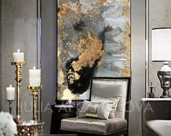 Grey Gold Black & Gold Leaf Large Luxury Wall Art Canvas Print of Original Watercolor Abstract Painting 'Autumn Dreams' by Julia Apostolova