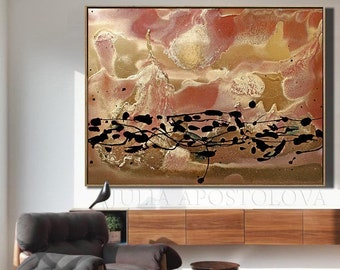 Autumn Painting, Abstract Painting, Gold Abstract Art Print on Canvas, Modern Artwork,Gold Art Print,Large Painting Print, Modern Wall Decor